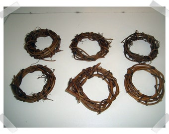 Set of 6 Vine Wreaths/4 inches/Craft Supplies*