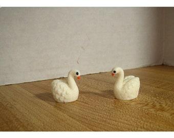 Fairy Garden Resin Off White Swan/ Set of 2*/Minis/Supplies*