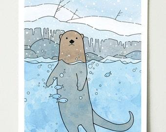 River Otter Art Print, Nursery, Kids Room Animal Large Illustration Print, 11x14