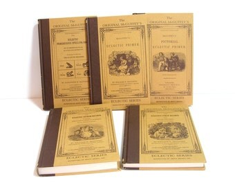 Lot 8 McGuffey's Eclectic Primer Reader Books: Set. 1896