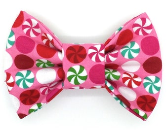 Peppermint Delight Snap-In Dog Bows® Bow Tie, Best Pet Bow Ties, Pet Harness Bow Tie, Cat Bow Tie, Christmas Pet BowTie, Dog Bow Tie