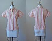 1950s Top - 50s Vintage Blouse - Peach Tan Stripe Woven Rose Deadstock Cotton Shirt S M - Peach Pie Top