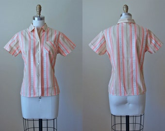 1950s Top - 50s Vintage Blouse - Peach Tan Stripe Woven Rose Deadstock Cotton Shirt S M - Peach Pie Top