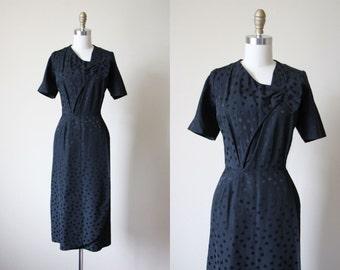 50s Dress - Vintage 1950s Cocktail Dress - Black Polka Dot Sarong Bombshell Dress L XL - Dotty Dress