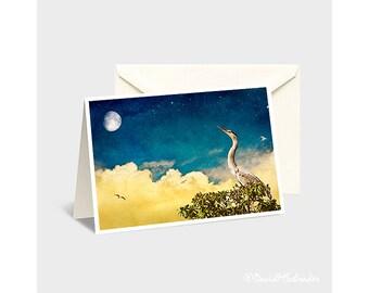 Bird Greeting Card, Bird Note Card, Blue Heron Card, Moon Greeting Card, Moon Note Card, Fantasy Note Card, Childrens Art, Moon Photograph