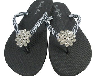 Rhinestone Flip Flops with Zebra Bling jewels on flat black sandals or any color