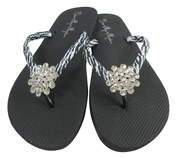 Rhinestone Flip Flops With Zebra Bling Jewels On Flat Black-9928