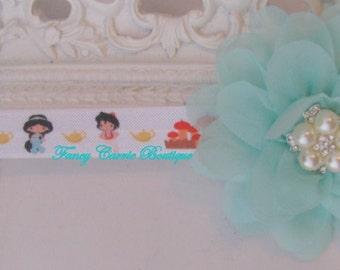Aqua flower Headband..Headband inspired by Jazmin..Princess Headband..Snowflake Headband..Jazmin Headband