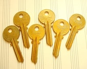 Vintage keys, 6 key blanks, Taylor brass keys, locksmith keys, door keys for crafts, jewelry making, scrapbooks, industrial accents