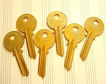 Vintage keys, 6 key blanks, Taylor brass keys, locksmith keys, door keys for crafts, jewelry making, scrapbooks, industrial accents