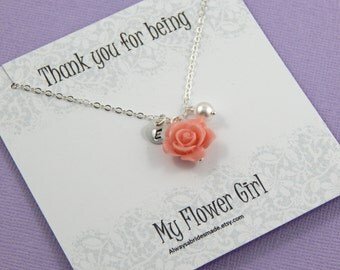 Flower Girl Thank You - Gift Boxed Jewelry Flower Girl Necklace Personalized hand stamped Disc  Flower Girl Gift Junior Bridesmaids