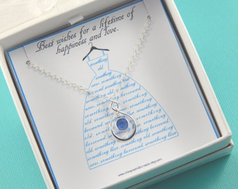Bride Necklace, Something Blue Necklace, Bride Gift - Something Blue, Gift Boxed Jewelry, Thank You Gift