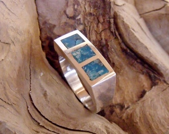 Harry Styles 3 Stone Inlay Turquoise Mens or Ladies Ring RF081