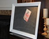 Large, Vintage Framed, White, Distressed,  Magnetic Chalkboard, Home/Wedding/Restaurant (21 1/4 x 27 1/4 inches)