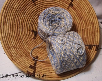 Cotton Yarn, Sky Blue & Linen Color Cotton Combo, Bulky #5 Weight Yarn, 550 Yards, 10.5 Ounces, Hand Made Novelty Yarn,  BIN 17