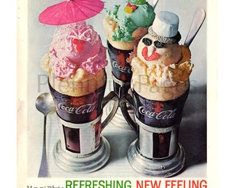 "1962 Coca Cola Vintage Ad, Advertising Art, Retro Coke Ad, ""Float with Coke"", Ice Cream Float, 1960's Dessert, Great to Frame."