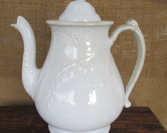 Antique Distressed, White Ironstone Lily Of The Valley Teapot,Country Home,Victorian Decor, Simply White, Serving, Gift under 100