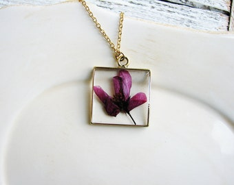 Flowering Crab Apple Necklace, Resin Jewelry, Burgandy Red Flower Necklace, Nature Lovers Jewelry, Botanical Jewelry, Real Flower Necklace