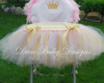 High Chair COVER ONLY Light pink and gold hot pink and gold Princess crown 1st 2nd birthday girl high chair decorations made in ANY colors