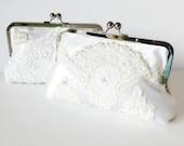 BRIDAL HEIRLOOM CLUTCH, Repurpose old wedding dress into a bridal clutch, wedding clutch  dress -  Made from Moms Dress - or formal