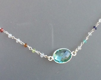 Aqua and multi gem sterling silver Necklace