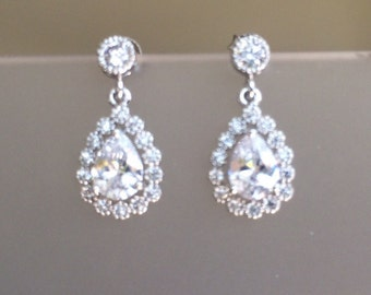 Small Crystal Tear Drop earrings