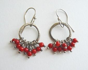Red coral hoops - red berry hoop earrings - silver hoops - artisan crafted - lightweight