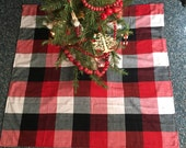Square Buffalo Print Flannel Tree Skirt with FREE Shipping