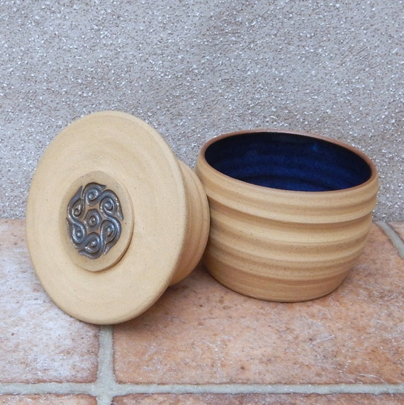 French butter dish crock keeper beurrier hand thrown stoneware pottery