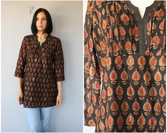 Vintage 1970s Tunic | Indian Cotton Blouse | India Cotton Tunic | Batik Print Top | Batik Blouse