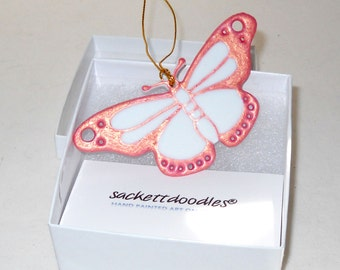 Pink Butterfly Ornament Hand Painted Butterfly Porcelain Decorative Art Gift Boxed