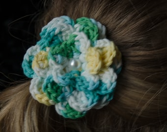 Hair Bow - Yellow, Turquoise, Blue, and White Varigated Crochet Hair Flower, Baby Hair Bow, Girls Hair Bow