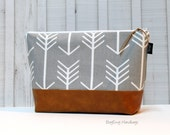 Grey Arrows with Vegan Leather - Large Make Up Bag / Diaper Clutch / Bridesmaid Gift