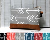 Design Your Own - Arrows and Faux Vegan Leather - Zippered Clutch / Accessory Pouch - Make Up Bag - BagEnvy Handbags
