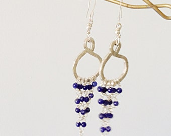 Lapis Lazuli  925 Silver Hoop Chandelier Dangle Earrings