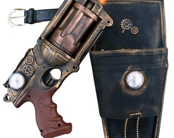 Steampunk MAVERICK toy Gun HOLSTER  BELT Zombie walking man Nerf soft dart Vampire Victorian cosplay Limited
