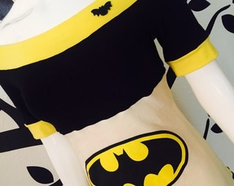 Batman • Yellow and Black • Off Shoulder • Tee • Shirt • Small / Medium