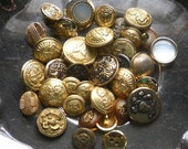Gold Buttons, Lot of 34, Many Designs