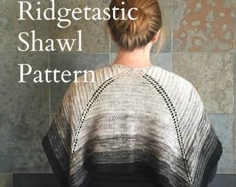 PDF Ridgetastic Shawl Knitting Pattern Sock Yarn Digital Download silver gray grey fingering weight yarn gradient mini skein pdf fiberterian