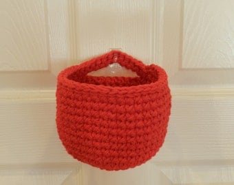 Crocheted Hanging Basket/ Small Crochet Basket/ Red Crocheted Hanging Basket