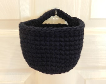 Crocheted Hanging Basket/ Small Crochet Basket/ Black Crocheted Hanging Basket