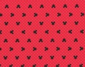 Mickey Mouse Fabric Disney 100% Cotton Fabric - Mickey and Friends Mouse Heads on Red by Camelot Fabrics - By the Yard OR Half Yard