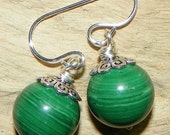 Natural Russian Malachite Sterling Silver Ball Earrings - Green