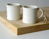 Set of two fluted mugs glazed in vanilla cream - hand thrown stoneware pottery