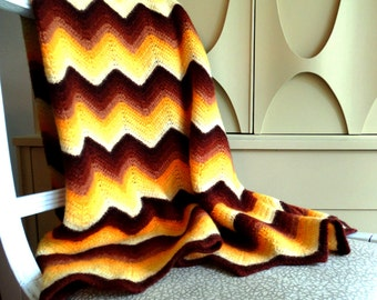 Vintage Chevron Pattern 1970's Crocheted Wool Afghan - Fall Gold  & Brown
