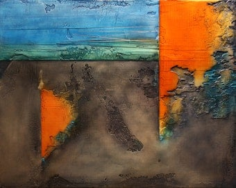 """Abstract Acrylic Painting  - Orange, blue, green - """"Appreciate The Danger"""""""