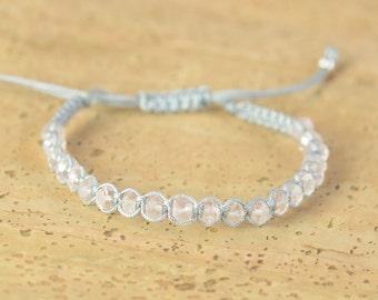 Pink quartz macrame woven bracelet