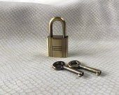 Large Antique Gold Colored Grooved Square  Working Padlock