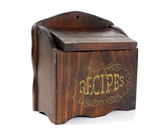 Vintage Wooden Recipes Box