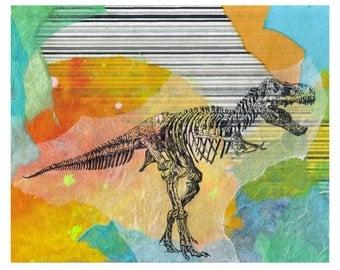 Tyrannosaurus Rex T Rex Dinosaur Animal Art Print From Original Painting 8 X 10 Print Great Children Kids Room Wall Art Nursery Art Decor
